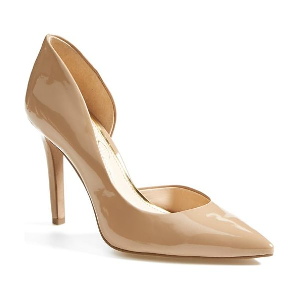 Jessica Simpson claudette half dorsay pump in nude/ synthetic leather - A single-sole stiletto fashioned with a pretty pointed...