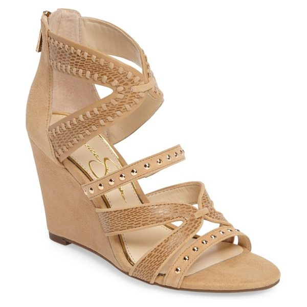 Jessica Simpson zenolia strappy embellished wedge in sand castle suede - Studded and mixed-finish straps add casual appeal from...
