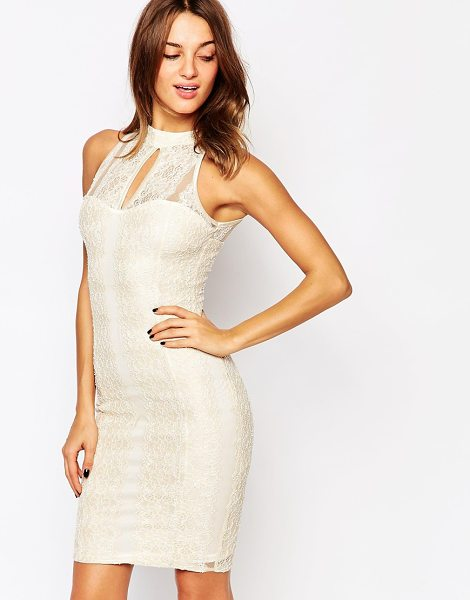 Jessica Wright Emily lace midi dress in nude lace