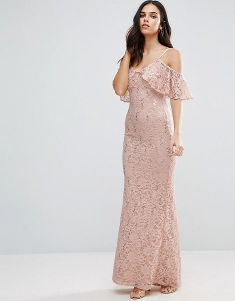 Jessica Wright Off The Shoulder Lace Maxi Dress in cream