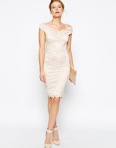 Jessica Wright Olivia off shoulder lace dress in nude - Lace dress by Jessica Wright Stretch lace Fully lined...