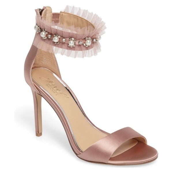 JEWEL BADGLEY MISCHKA abagail embellished ankle strap sandal in dark blush satin - Imitation pearls and twinkling crystals embellish the...