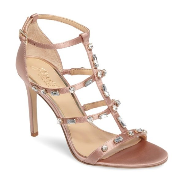 JEWEL BADGLEY MISCHKA adela glittery embellished cage sandal in dark blush