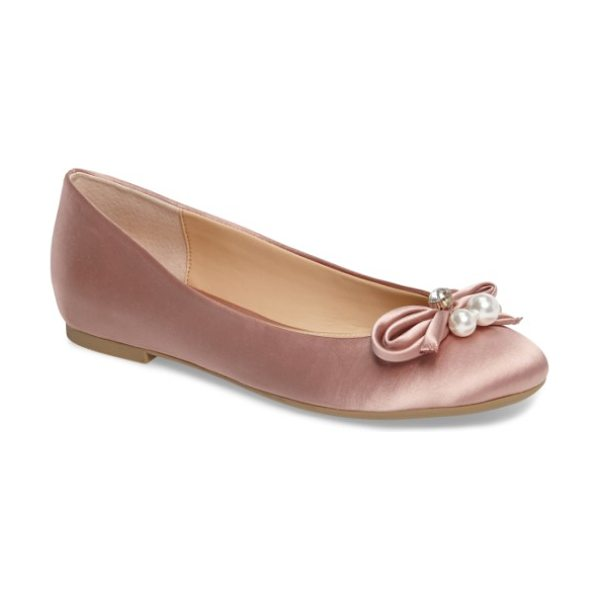 JEWEL BADGLEY MISCHKA adeline bow flat in dark blush satin - Imitation pearls and a twinkly crystal crown the...