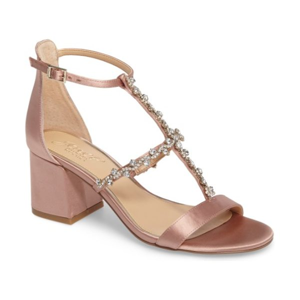 JEWEL BADGLEY MISCHKA alamea block heel sandal - Dazzling crystals trace the straps of a lustrous satin...