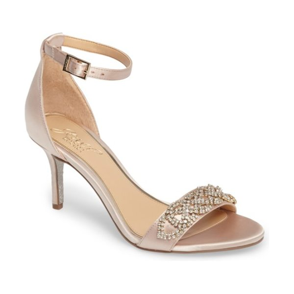 JEWEL BADGLEY MISCHKA alana ankle strap sandal in champagne satin - Glittering placed crystals embellish a lustrous satin...