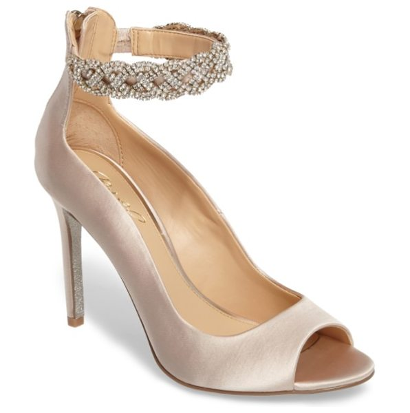 JEWEL BADGLEY MISCHKA alanis embellished ankle strap pump - An event-ready peep-toe pump perfect for dancing the...