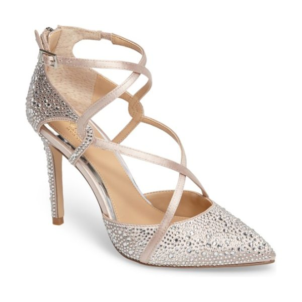 JEWEL BADGLEY MISCHKA alivia ii strappy pump in champagne satin - Tonal crystals dazzle and catch the light on a...