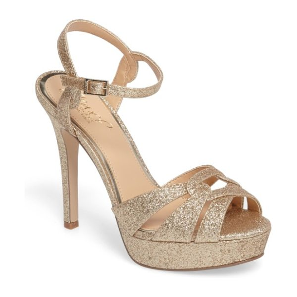 JEWEL BADGLEY MISCHKA alysa platform sandal in dark gold - Intersecting straps gorgeously structure the toe of a...
