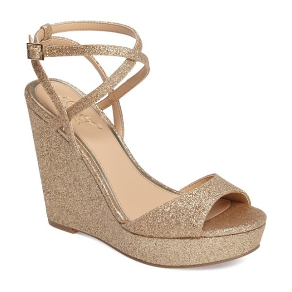 JEWEL BADGLEY MISCHKA ambrosia wedge sandal in dark gold - All eyes will be on you as you make an entrance in this...
