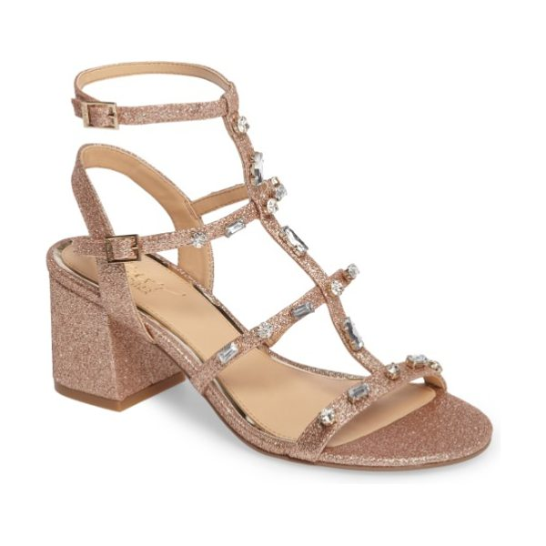 JEWEL BADGLEY MISCHKA ana crystal studded block heel sandal in rose gold - Chunky mixed crystals stud the cage straps of a glittery...