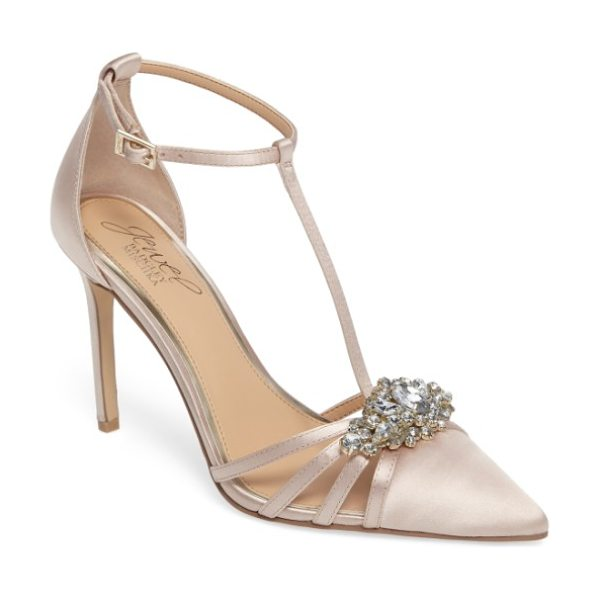 JEWEL BADGLEY MISCHKA cabo embellished pointy toe pump in champagne satin - A diamond-shaped crystal brooch furthers the sleek...