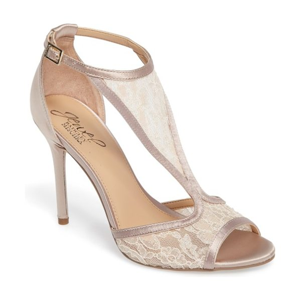 JEWEL BADGLEY MISCHKA horizon t-strap mesh sandal in champagne satin - A patterned mesh T-strap secures a forward-looking...