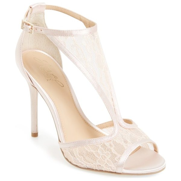 JEWEL BADGLEY MISCHKA horizon t-strap mesh sandal in pale pink satin - A patterned mesh T-strap secures a forward-looking...