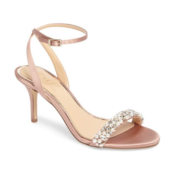 JEWEL BADGLEY MISCHKA jewel by badgley mischka theodora ankle strap sandal in dark blush satin - Sparkling crystals and imitation-pearl beads embellish...