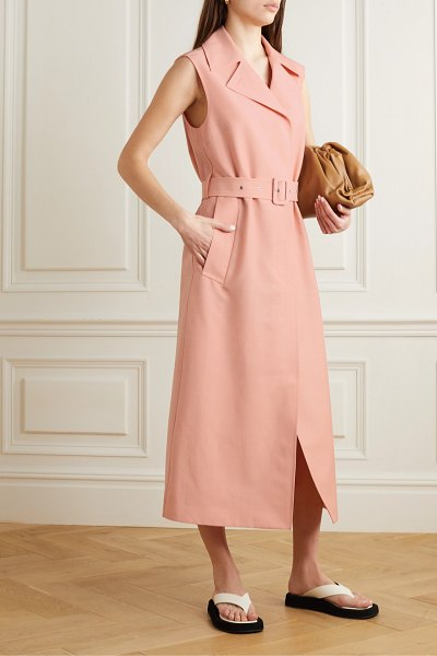 Jil Sander belted wool and mohair-blend midi dress in pink