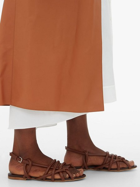 Jil Sander caged rope strap leather sandals in tan