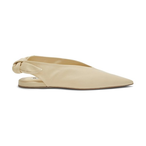 Jil Sander point-toe slingback leather flats in cream