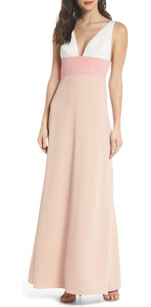 Jill Jill Stuart colorblock v-neck gown in cream pink rose nude - Bold color offsets the otherwise simple styling of an...