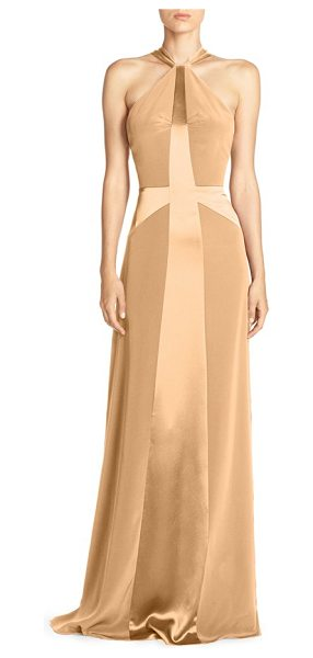 Jill Jill Stuart racerback crisscross gown in buttercream - Lustrous lines cross in the front and back of this...