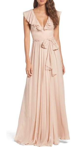 Jill Jill Stuart ruffle chiffon gown in rosy nude - Softly romantic in front with an unexpected strappy...