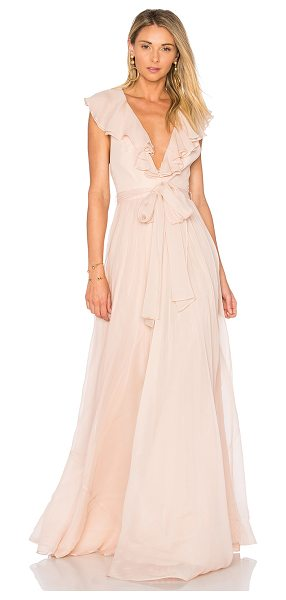Jill Jill Stuart Ruffle Gown in blush - Silk blend. Dry clean only. Fully lined. Ruffle sleeves....