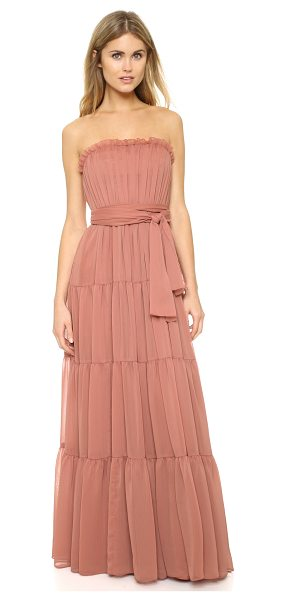 Jill Jill Stuart Strapless crinkle chiffon gown in desert rose - Ruched tiers lend airy volume to this strapless Jill...