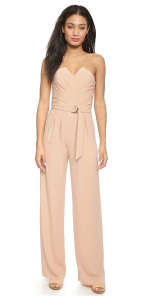 Jill Jill Stuart Strapless jumpsuit in rosy nude - Diagonal pleats frame the crossover neckline of this...