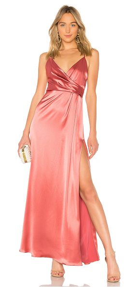 Jill Jill Stuart Wrap Gown in rose - 76% triacetate 24% poly. Dry clean only. Partially...