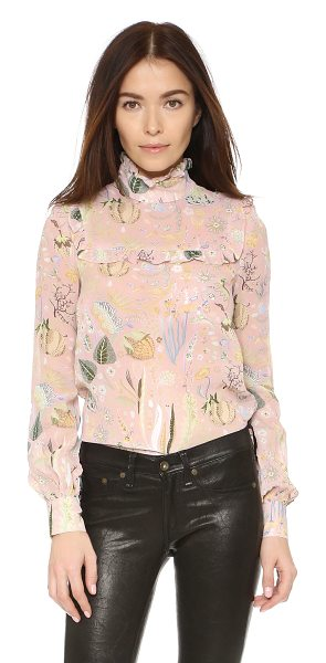 Jill Stuart Azalea long sleeve blouse in powder - This feminine floral Jill Stuart dress is trimmed with...