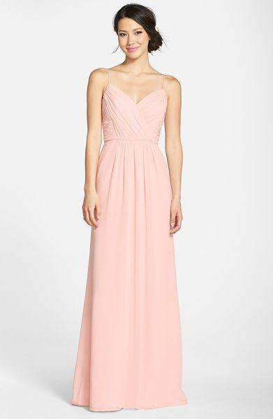 Jim Hjelm Occasions draped v-neck a-line chiffon gown in blush - Soft pleats drape the surplice bodice and floor-skimming...