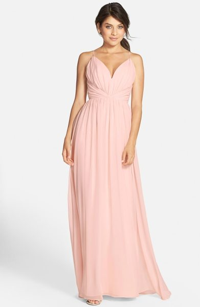 Jim Hjelm Occasions draped v-neck chiffon gown in blush - Angled panels nip the waist at the decollete bodice of a...