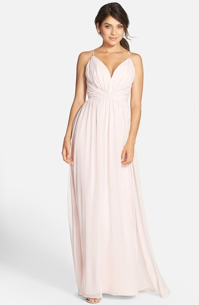 JIM HJELM OCCASIONS draped v-neck chiffon gown in blush - Soft draping and gentle gathers shape the sweetheart...