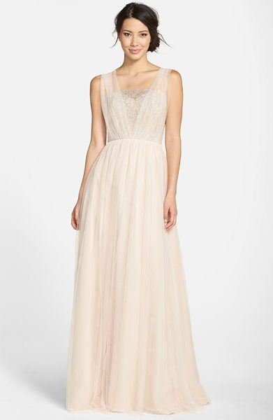 Jim Hjelm Occasions metallic lace & net a-line gown in silver/ almond - Shimmering silvery lace wraps moonlight gleam around the...