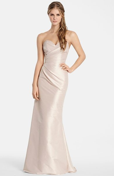 JIM HJELM OCCASIONS hayley paige occasions strapless dupioni sweetheart trumpet gown - Expert pleating drapes and sculpts a luminous dupioni...