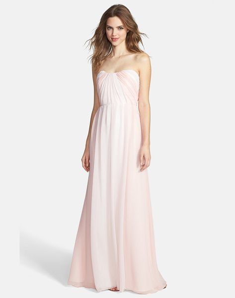 Jim Hjelm Occasions two-tone pleat chiffon gown in blush/ rose/ ivory - Color-contrast panels beautifully frame a flowing...