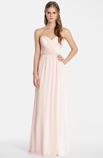 Jim Hjelm Occasions two tone strapless chiffon gown in blush/ rose - Soft draping and gentle gathers shape the sweetheart...