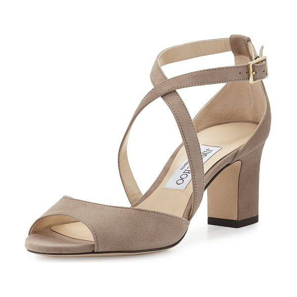 "Jimmy Choo 65mm Carrie Suede Sandal in mocha - Jimmy Choo suede sandal. 2.5"" covered block heel...."