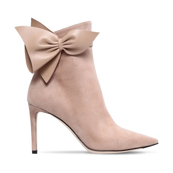 Jimmy Choo 85mm cassidy bow suede ankle boots in nude - 85mm Covered heel. Suede upper. Pointed toe. Side zip...