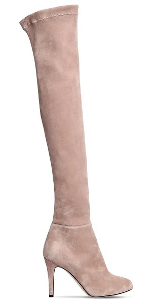 Jimmy Choo 90mm toni suede over the knee boots in nude