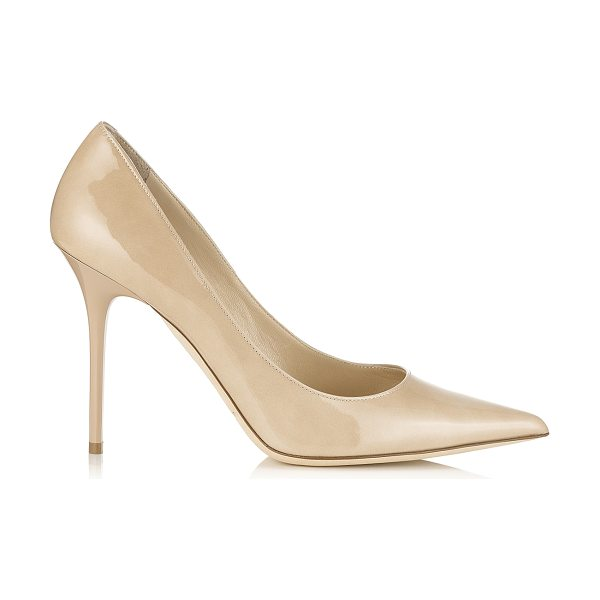 Jimmy Choo Abel nude patent pointy toe pumps in nude - Abel is the perfect stiletto pump with a signature spike...
