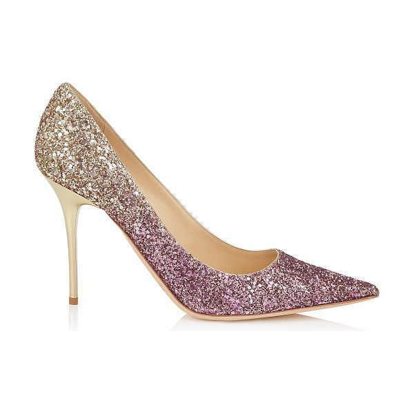 Jimmy Choo ABEL Boho Pink and Gold Coarse Glitter Dégradé Pointy Toe Pumps in boho pink/gold - The Abel pointy toe pump is characterized by its clean,...
