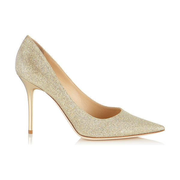 Jimmy Choo Abel gold lamé glitter pointy toe pumps in gold - These elegant stiletto pumps with signature spike heel...