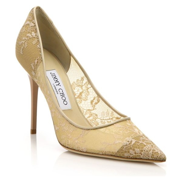 Jimmy Choo Abel lace point-toe pumps in nude - Embroidered lace envelops these classic point-toe pumps...