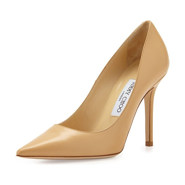 Jimmy Choo Abel Leather Point-Toe Pump in nude - Jimmy Choo kid leather pump. Pointed toe; single sole....
