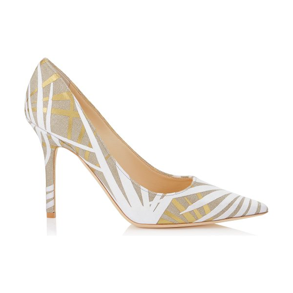 JIMMY CHOO Abel light khaki mix flocked palm application on canvas pointy toe pumps - The Abel pointy toe pump is characterized by its clean,...