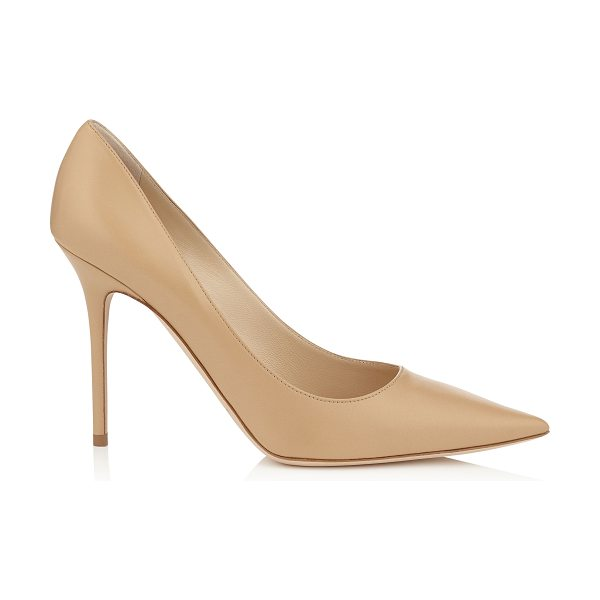 Jimmy Choo Abel nude kid leather pointy toe pumps in nude - The Abel pointy toe pump is characterized by its clean,...
