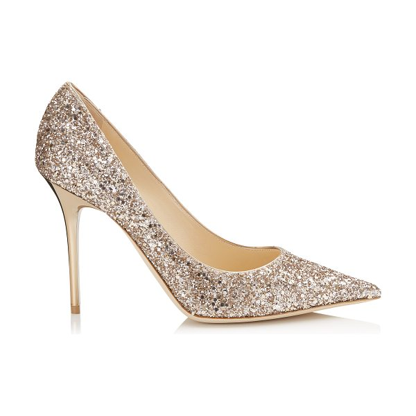 JIMMY CHOO ABEL Nude Shadow Coarse Glitter Fabric Pointy Toe Pumps - The Abel pointy toe pump is characterized by its clean,...