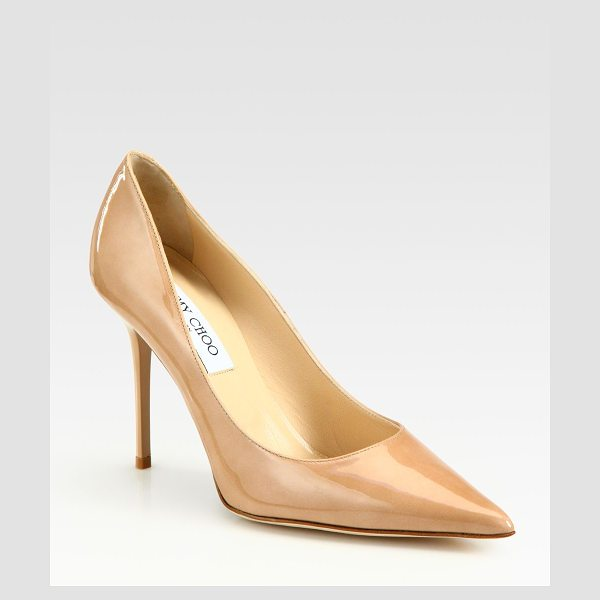 Jimmy Choo Abel patent leather pumps in nude - Sophisticated silhouette in glossy patent...