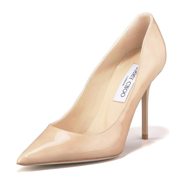 "Jimmy Choo Abel point-toe patent pump in nude - Pointed toe; low-cut vamp lengthens legs. 4"" covered..."